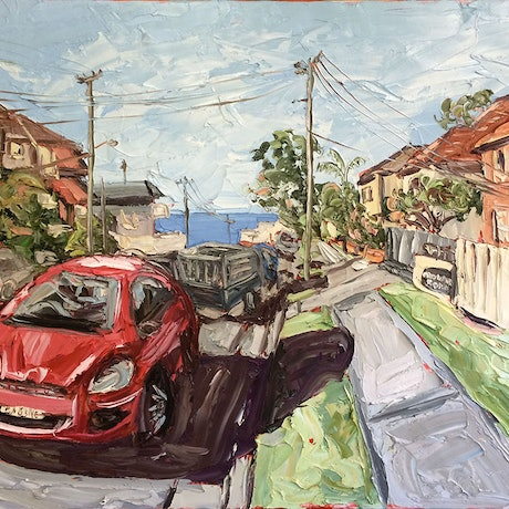 (CreativeWork) Crown Road by Sally West. Oil Paint. Shop online at Bluethumb.