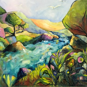 (CreativeWork) DOWN THE RIVER BANK by Ivana Pinaffo. arcylic-painting. Shop online at Bluethumb.