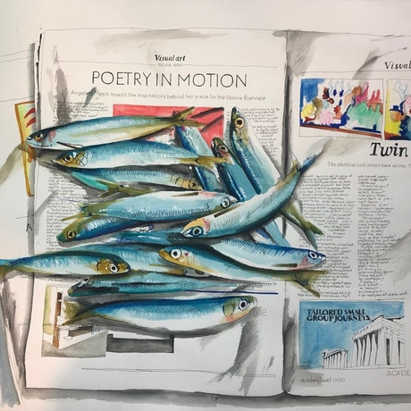(CreativeWork) Poetry in Motion by Silvia Rubboli Golf. Mixed Media. Shop online at Bluethumb.