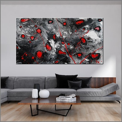 (CreativeWork) Red Pools 190cm x 100cm Red Black Abstract Textured  art FRANKO  by _Franko _. Acrylic Paint. Shop online at Bluethumb.