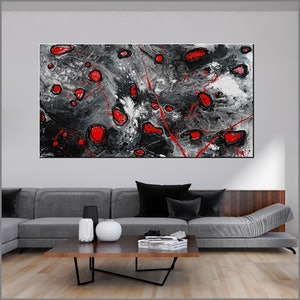 (CreativeWork) Red Pools 190cm x 100cm Red Black Abstract Textured  art FRANKO  by _Franko _. arcylic-painting. Shop online at Bluethumb.