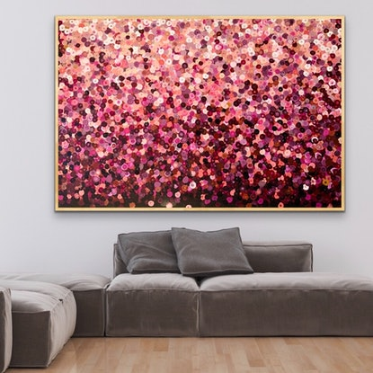 (CreativeWork) Lucy 152x102 framed large abstract by Sophie Lawrence. Acrylic Paint. Shop online at Bluethumb.