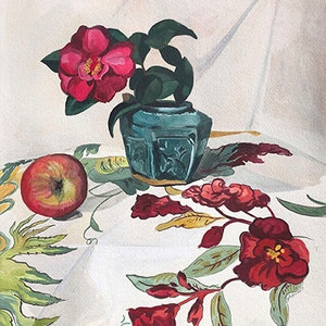 (CreativeWork) Still Life with Camellia and Chintz by Sally Browne. #<Filter:0x00007fc1e95327c8>. Shop online at Bluethumb.