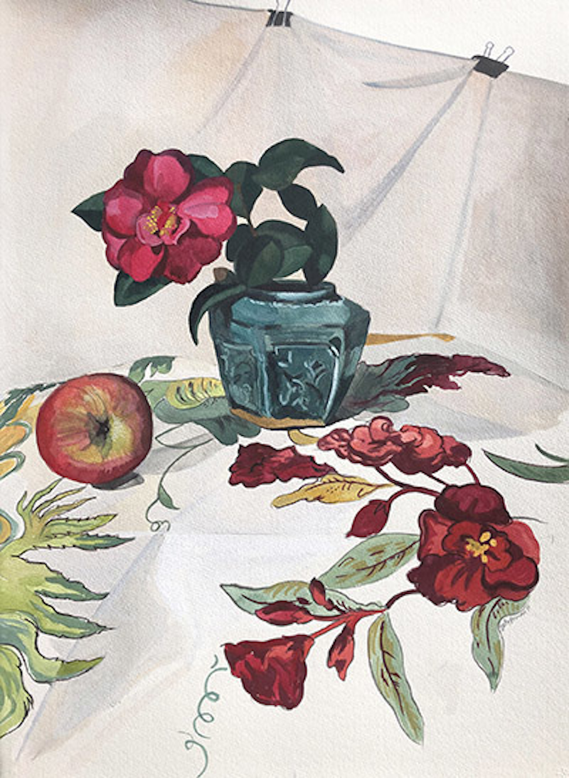 (CreativeWork) Still Life with Camellia and Chintz by Sally Browne. Watercolour Paint. Shop online at Bluethumb.