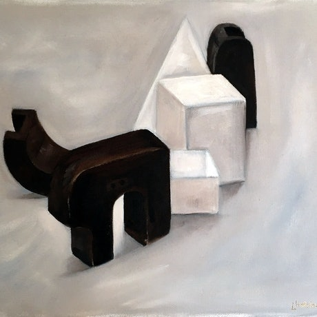 (CreativeWork) Study of Shape by Lyndsey Hatchwell. Oil Paint. Shop online at Bluethumb.