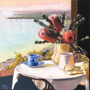 (CreativeWork) Arthur's table (framed) by kirsty mcintyre. oil-painting. Shop online at Bluethumb.