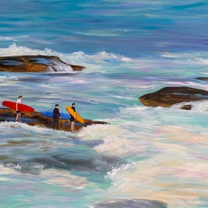 (CreativeWork) Let's go surfing  by Shelly Du. acrylic-painting. Shop online at Bluethumb.