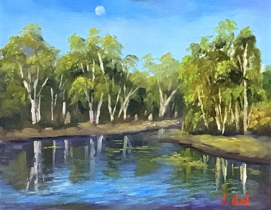 (CreativeWork) Reflections at Cobbold Gorge - Oil on linen board  by Christopher Vidal. Oil Paint. Shop online at Bluethumb.