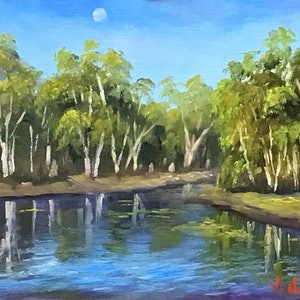 (CreativeWork) Reflections at Cobbold Gorge - Oil on linen board  by Christopher Vidal. oil-painting. Shop online at Bluethumb.