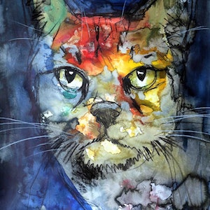 (CreativeWork) Pussy Cat  by John Graham. Mixed Media. Shop online at Bluethumb.