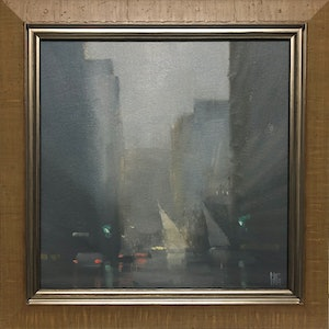 (CreativeWork) Rain and Sales - Flinders Street - Rainy city scene with sailboats. by Mike Barr. oil-painting. Shop online at Bluethumb.