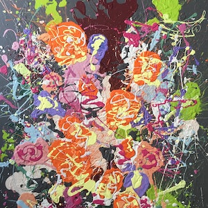 (CreativeWork) Smashed bouquet by Jonathan Redmayne. arcylic-painting. Shop online at Bluethumb.