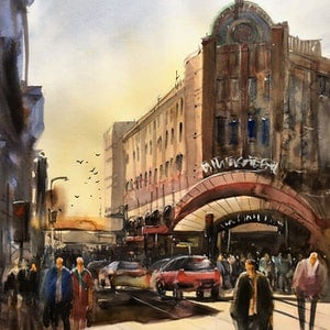 (CreativeWork) Wickham Street - China Town by Phuong Ly. watercolour. Shop online at Bluethumb.