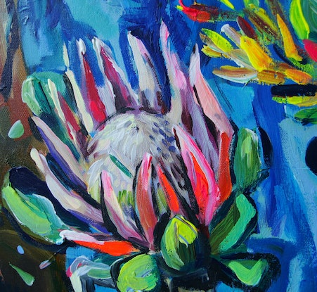 (CreativeWork) Still Life with King Protea and Pears by Katerina Apale. Acrylic Paint. Shop online at Bluethumb.