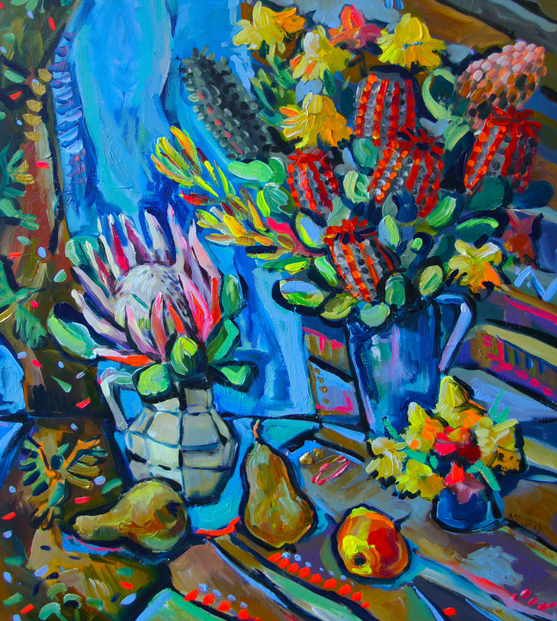 (CreativeWork) Still Life with King Protea and Pears by Katerina Apale. acrylic-painting. Shop online at Bluethumb.