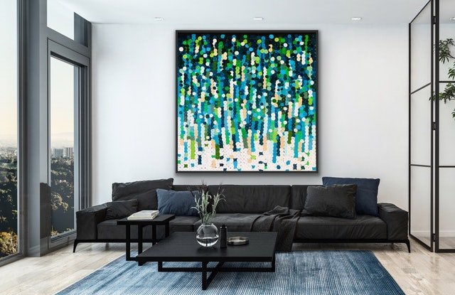 (CreativeWork) On sale Kelp 122x122 framed large abstract  by Sophie Lawrence. Acrylic Paint. Shop online at Bluethumb.