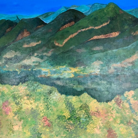 (CreativeWork) Wilpena Pound by Len Dean. Acrylic Paint. Shop online at Bluethumb.