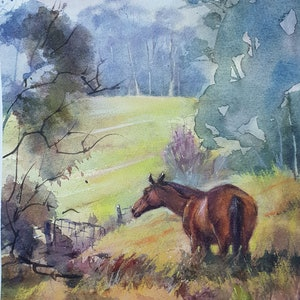 (CreativeWork) Horse In the Paddock by Anica Amphlett. mixed-media. Shop online at Bluethumb.