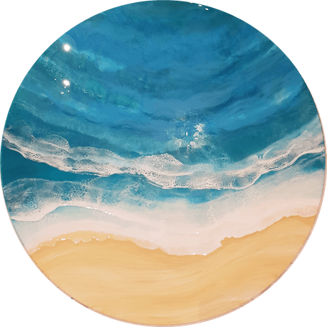 (CreativeWork) Half Moon Waves by Tracy Chalk. Resin. Shop online at Bluethumb.