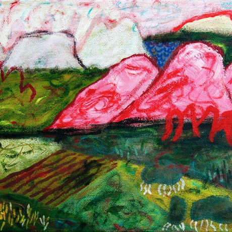 (CreativeWork) Valley at twilight by James Lai. Acrylic Paint. Shop online at Bluethumb.