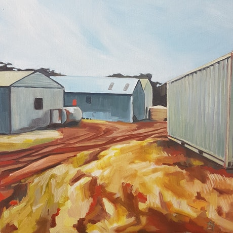 (CreativeWork) Invermay sheds by Alice Tilley. Oil Paint. Shop online at Bluethumb.