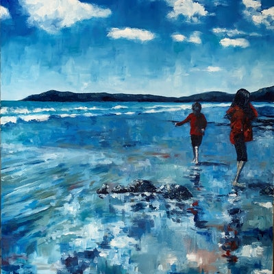 (CreativeWork) The Singing Brother - Koekohe Beach  by James Wild. oil-painting. Shop online at Bluethumb.
