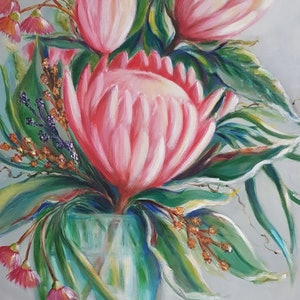 (CreativeWork) Proteas and Gumnuts by Christine Hookham. #<Filter:0x00007f18b8c07e20>. Shop online at Bluethumb.