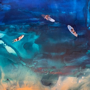 (CreativeWork) Aerial surf by Leah Dodd. mixed-media. Shop online at Bluethumb.