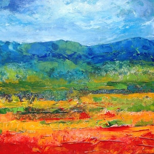 (CreativeWork) FIELDS OF JOY by LOUISE GROVE WIECHERS. arcylic-painting. Shop online at Bluethumb.