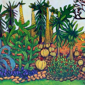 (CreativeWork) Cactus Garden by Wendy Bache. acrylic-painting. Shop online at Bluethumb.