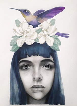 (CreativeWork) The Hummingbird Tamer by Kati Garrett Filho. Watercolour Paint. Shop online at Bluethumb.