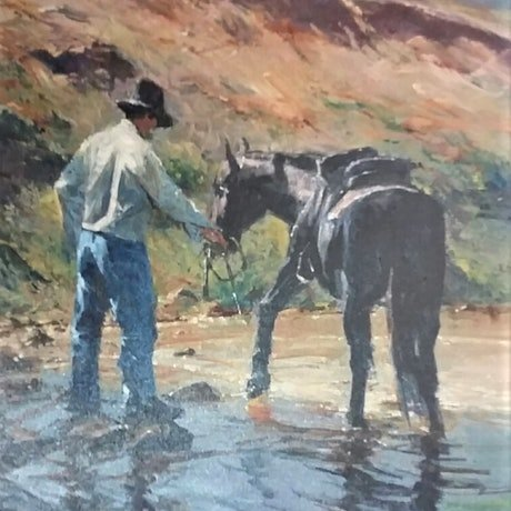 (CreativeWork) 'Watch Your Step' by ROBERT HAGAN -  collectible by Robert Hagan. Oil Paint. Shop online at Bluethumb.
