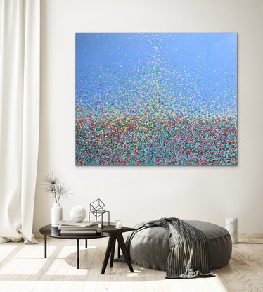(CreativeWork) Dazzling Stars  by Theo Papathomas. Oil Paint. Shop online at Bluethumb.