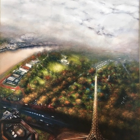 (CreativeWork) Melbourne Trough the Mist (Detail 2) Ed. 1 of 1 by Eva Horvath. Print. Shop online at Bluethumb.