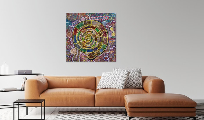 (CreativeWork) THE RAINBOW SERPENT 2 by Cynthia Farr BARUNGGUM. #<Filter:0x00007fc1c8d1f510>. Shop online at Bluethumb.