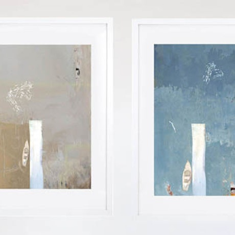 (CreativeWork) Waterfront Quadriptych (4 pieces) by Keith Southall. Mixed Media. Shop online at Bluethumb.