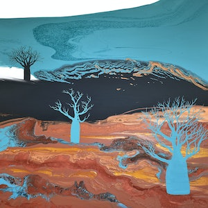 (CreativeWork) Blue Boabs by Brigitte Ackland. acrylic-painting. Shop online at Bluethumb.