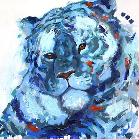 (CreativeWork) Blue Abstract Tiger Animal Art by Rhiannon Hetherington. Acrylic Paint. Shop online at Bluethumb.