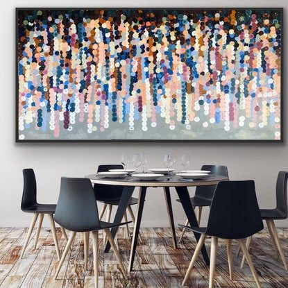 (CreativeWork) Philippe 183x93 framed large abstract by Sophie Lawrence. Acrylic Paint. Shop online at Bluethumb.