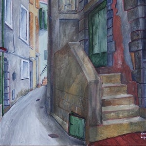 (CreativeWork) Vernazza Alley by Christopher Johnston. #<Filter:0x00007ff7c8f187a0>. Shop online at Bluethumb.