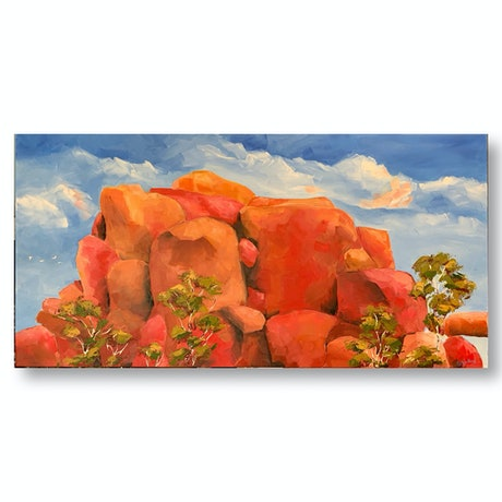 (CreativeWork) Red Gold (Devils Marbles, NT) by Eve Sellars. Oil Paint. Shop online at Bluethumb.