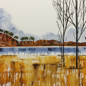 (CreativeWork) Shimmering Sienna  - Earth & Water by Julie Dynan. acrylic-painting. Shop online at Bluethumb.