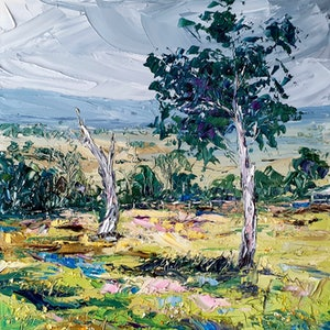 (CreativeWork) Bonorong Wildlife Sanctuary - Landscape Painting by Angela Hawkey. oil-painting. Shop online at Bluethumb.