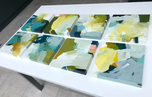 (CreativeWork) Mettle - square green blue mustard by Stephanie Laine. Acrylic Paint. Shop online at Bluethumb.