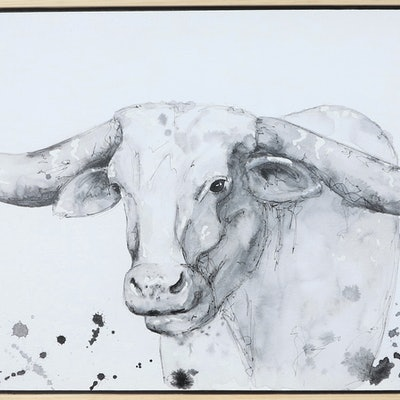 (CreativeWork) Longhorn by Lara Louise Karpeljuk. watercolour. Shop online at Bluethumb.