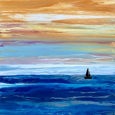 "(CreativeWork) Beach painting ""Sunset Sail Waikiki"" by Debra Ryan. Mixed Media. Shop online at Bluethumb."