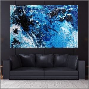 (CreativeWork) Deep Southern Blue Avocado Smash 160cm x 100cm Blue Textured Ink Abstract Gloss Finish FRANKO by _Franko _. arcylic-painting. Shop online at Bluethumb.