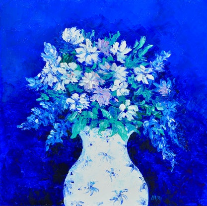 (CreativeWork) SPRING FLOWERS STILL LIFE by Jan Matson. Oil Paint. Shop online at Bluethumb.