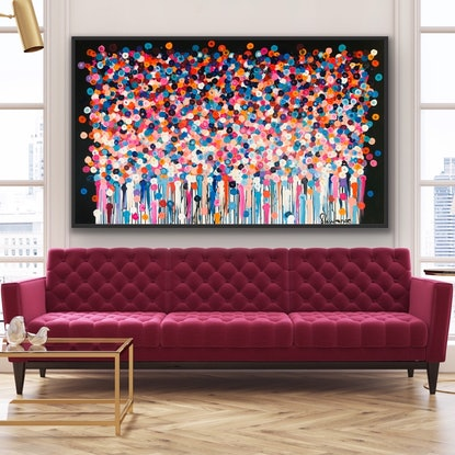 (CreativeWork) Layla 152x92 framed large abstract  by Sophie Lawrence. Acrylic Paint. Shop online at Bluethumb.