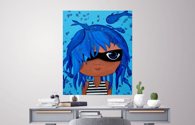 (CreativeWork) ORIGINAL Artwork Masked Pirate from the Masked Series by Tanya Smith. Acrylic Paint. Shop online at Bluethumb.